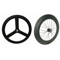 Buy cheap 3k / 12k Finishing Carbon Track Bike Wheels Tri Spoke 23MM Width Anti Slip For Rainy Days from Wholesalers