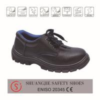 safety work shoes 9088 embossed leather upper, dual pu outsole