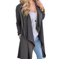 Cheap Viscose Blends Womens Long Cardigans Solid High Low Long Sleeve Open Front Cardigan for sale