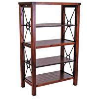 Heavy Duty Vintage Metal Book Case With Wood Frame Eco - Friendly