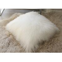 Home Decorative Cream Mongolian Fur Pillow Comfortable With Long Curly Hair