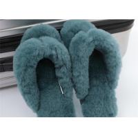 China Soft Ladies Indoor Sheep Wool Slippers With Real Warm Lamb Fur Lined OEM on sale