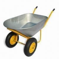 Buy cheap Double-wheel Wheelbarrow with 350kg Load, 120L Galvanized Tray, 7ft Capacity Metal Wheelbarrows from Wholesalers