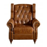 Buy cheap Vintage High Back Brown Leather Recliner Chair High Density Foam / Sponge from Wholesalers