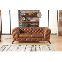 Buy cheap Light Luxury Style Europe Vintage Tan Brown 2 Seater Leather Chesterfield Sofa Couch from wholesalers