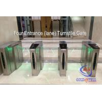 Buy cheap Double Core Fingerprint Biometric Turnstile Gate , Fast Pass Flap Barrier Turnstile With Software from Wholesalers