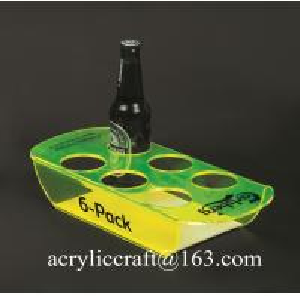 Buy cheap PMMA wine holder / plexiglass wine bottle display rack / acrylic beer bottle tray from wholesalers