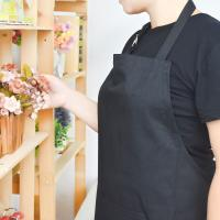China Adult Black Cotton Blend Apron with Adjustable Neck Strap Kitchen Aprons on sale