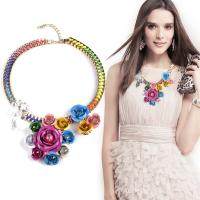 Buy cheap Hot Sale Fashion new multi color flower necklaces pendant chunky statement necklace from Wholesalers