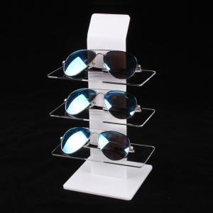 Buy cheap Clear White Acrylic Eyewear Display Rack Plexiglass Sunglasses Counter Shelf Display from wholesalers