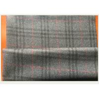 Quality Gray Tartan Fabric 50 Wool 50 Polyester , Black And Red Plaid Fabric 750 G / M wholesale