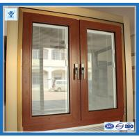 Modern house aluminium sliding window in wooden color with grill design