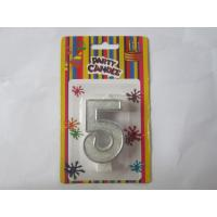 5 Shaped Number Birthday Candles Silver Border 13.5G / Psc For Anniversary Party