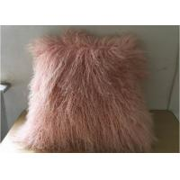 Household Fluffy Pink Mongolian Fur Pillow With Silky Long Curly Hair