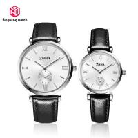 China Elegant Black Couple Wrist Watches Round Case Leather Band For Lover on sale