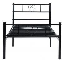 Black Single Metal Frame Bed of Love For Kid / Adult Solid Structure 77.9'' X 35.8'' X 34.8'' Size