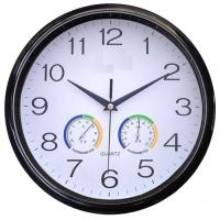 China Round Multifunction Wall Clock With Temperature / Humidity Function on sale