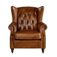 Georgian Style High Backed Winged Leather Chairs , Brown Leather Armchair Deep Buttoned Back