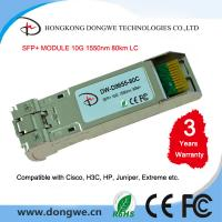 Buy cheap SFP-10G-ZR, 10G SFP Plus 1550nm 80km with Duplex LC DDM SMF module from wholesalers