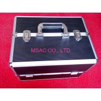Buy cheap 4MM MDF Aluminum Cosmetic Cases / Beauty Case With Tray , Black Leather Lining from Wholesalers