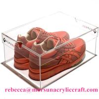 China Eco-friendly High Quality Acrylic Shoe Box Plastic Shoes Display Rack on sale