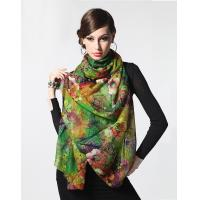 Buy cheap Colorful Oversized 100% Wool Scarf Silk Wool Shawl With Machine Hemming from Wholesalers