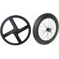 Buy cheap Black Carbon Tubular Track Wheels , 8 Bars 4 Spoke Track Cycling Wheels  from Wholesalers