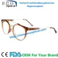 Buy cheap 2014 Big Size Lens Half Acetate Frame Metal Round Glasses Frame from wholesalers
