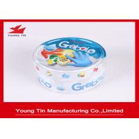 Buy cheap Embossed Small Flat Round Tin Containers Lids Attached For Games Cards And Dices from Wholesalers