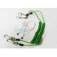 Green Tool Safety Lanyards , Plastic Coiled Lanyard Cord For Scaffolding