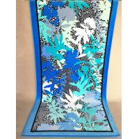 Velour Cotton Promotional Beach Towels With Navy Blue Oak Leaves 75 * 180cm