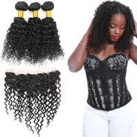 100 Unprocessed Virgin Malaysian Hair 3 Bundles Water Wave With Lace Frontal