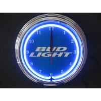 China Promotional Gift Quartz Neon Light Wall Clock Aluminium Frame Glass Surface on sale