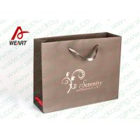 Buy cheap Brown Custom Paper Shopping Bags With Bottom Cardboard Satin Ribbon from Wholesalers