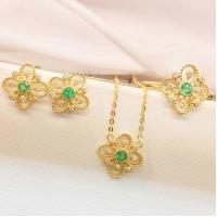 Gold And Gemstone Jewelry Sets , Emerald Diamond Ring / Earrings / Necklace
