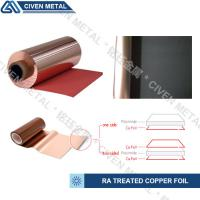 Buy cheap TREATED RA COPPER FOIL/THICKNESS:12/18/25/35/50UM/COLOR:RED AND BLACK from wholesalers