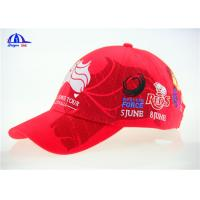 Quality 10x10 Brushed Red Cotton Embroidered Baseball Caps / Cool Baseball Cap wholesale
