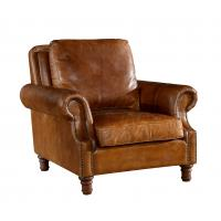 Buy cheap Retro Brown High Back Leather Armchair Hard Solidwood Frame American Style from Wholesalers