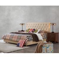 China Upholstered Headboard Bed by Modern design Fabric with Contemporary Furniture Apartment Bedroom used on sale