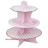 Buy cheap Fashion Colorful Design 3 Tier Paper Cardboard Cupcake Stand,Wholesale Wedding Cake Stand from wholesalers