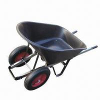 Buy cheap Double-wheel Wheelbarrow with High Capacity Plastic Tray, Suitable for Garden and Field Use from Wholesalers
