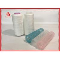 Quality 100% Ring Spun Polyester Yarn Raw White For Sewing With Plastic Cone , High Tenacity wholesale