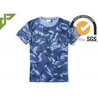 Quality Navy Blue Military Style T Shirts For Summer , Unisex Cool Army T Shirts Moisture Absorbing wholesale