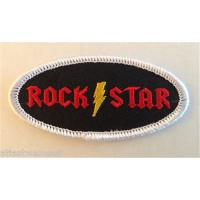 China Rock Star Lightning Bolt Oval Name Tag Patch Iron On Applique Badge on sale