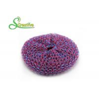 Multi Surface Plastic Kitchen Scrub Pads Cleaning Ball , Plastic Mesh Dish Scrubber