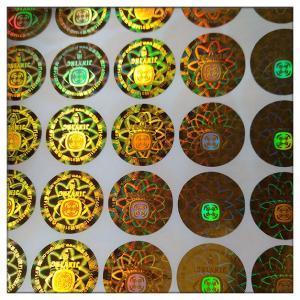 Die cut adhesive golden hologram  laser label , customized golden hologram laser label