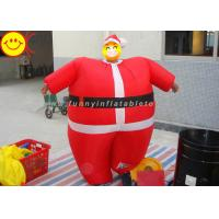 Quality Nylon Lightweight Advertising Costumes , Red Inflatable Santa Costume With Fabric Material wholesale