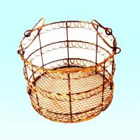 Buy cheap round metal basket with ears from Wholesalers