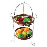 Buy cheap 2 Tier Fruit Basket with Soft Wooden Decoration from Wholesalers