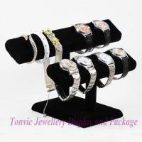 High Quality Watch Bracelet Display Double Oval T-Bar Stand Velvet Black CF-330-2
